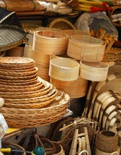 Asian market of bamboo crafts
